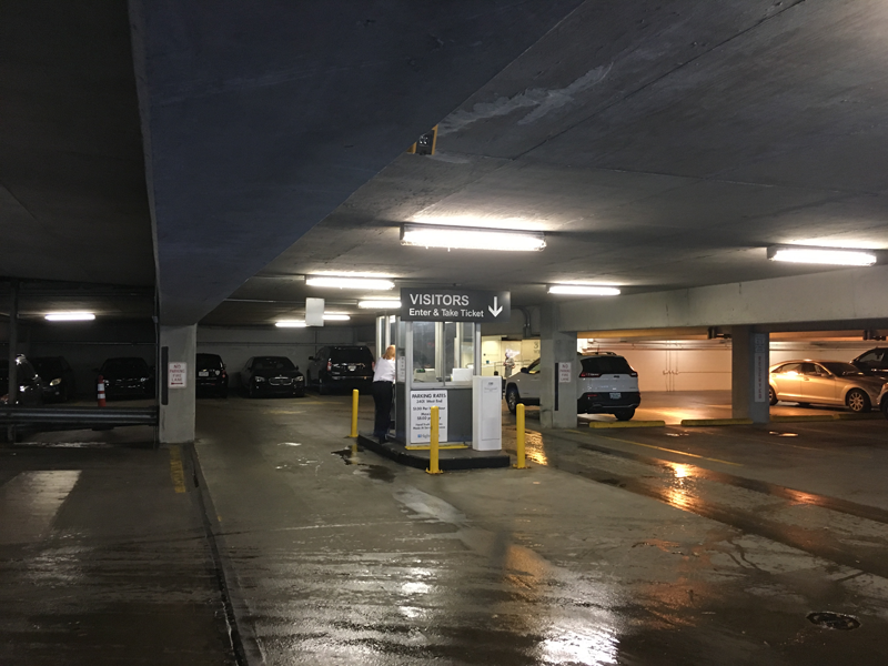 Guests may park in the attached garage, for a fee, using the entrance on Acklen Avenue. Stop at the guard station, take a parking ticket, and proceed to park in the allotted visitor spaces.